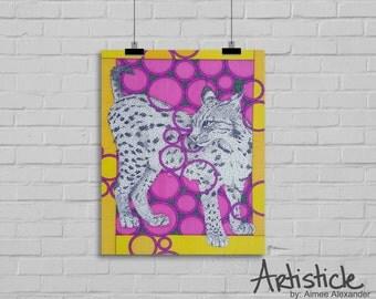 Lynx Art Print - Wild Cat Art - Bobcat Art - Yellow Pink Art - Animal Drawing - Modern Home Decor - Geometric Art - Lynx Illustration