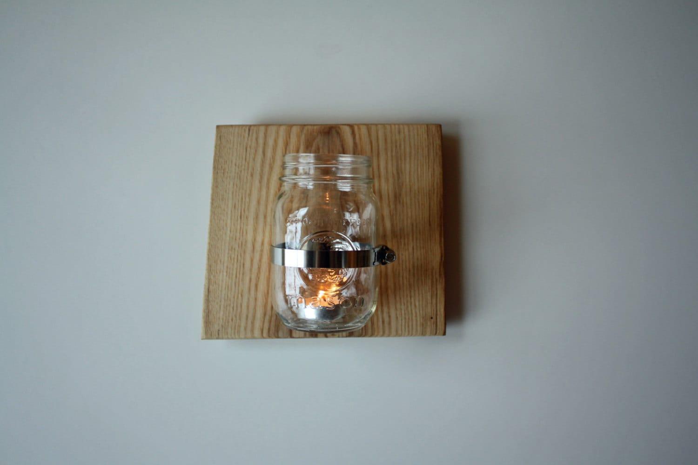 Wall Mounted Mason Jar 2 Sconce Candle Holder Vase or