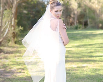 Fingertip veil, square cut wedding veil, bridal veil, tulle veil, ivory veil, raw edge veil, bridal illusion tulle