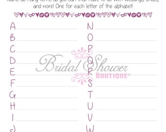 A-Z Everything Weddings Alphabet Bridal Shower Game PURPLE -Fun, Detailed, & Cute!