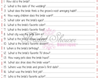 How Well Do You Know the Bride Bridal Shower Game BLUSH -Fun, Detailed, & Cute!