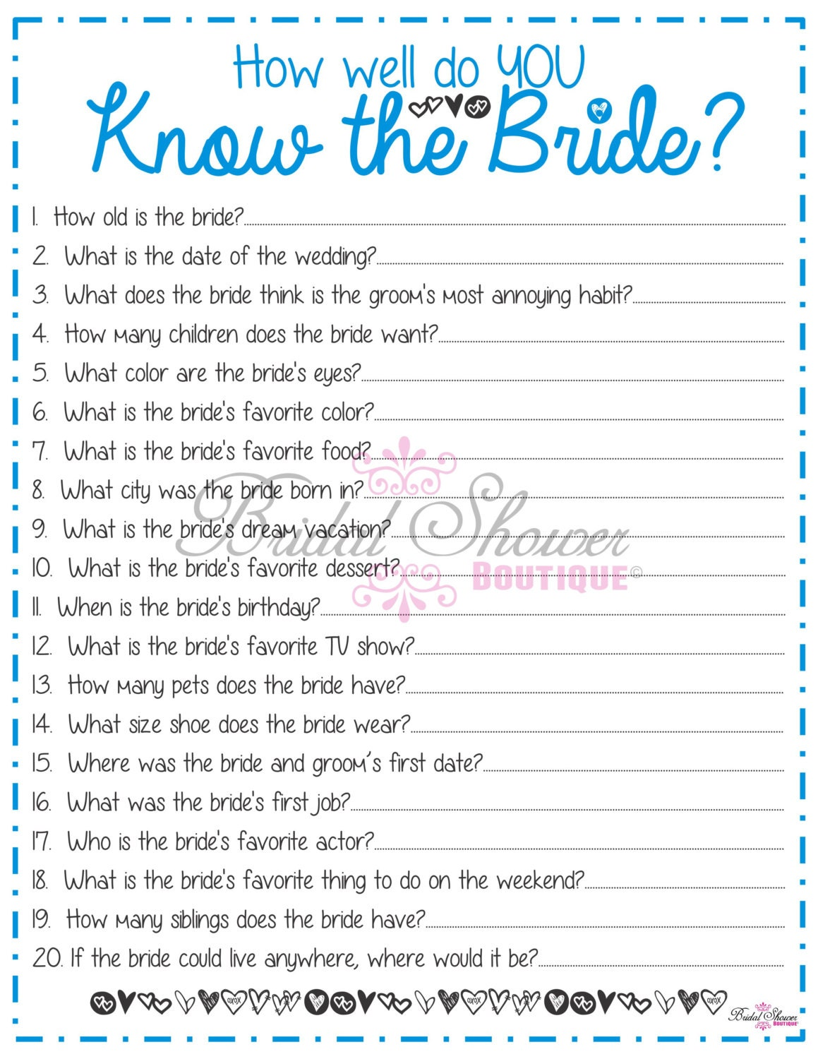How Well Do You Know The Bride: How Well Do You Know The Bride Bridal Shower Game BLUE Fun