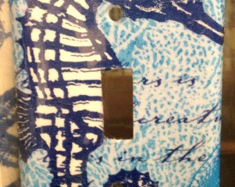 Blue Seahorse  light switch cover