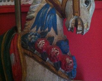 Folk Art Carousel Horse Hand Painted