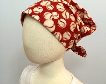 Mia Children's Head Cover, Girl's Cancer Headwear, Chemo Scarf, Alopecia Hat, Head Wrap, Cancer Gift for Hair Loss - Baseball