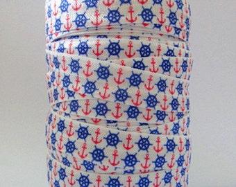 Nautical FOE 5/8 -Fold Over Elastic 5/8 inch by the yard...Print FOE, Headbands, Hair Ties and More!