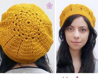 Crochet beret PDF pattern. Easy level crochet pattern _ L03