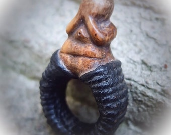 Rare Buddhist Ring, Old Ethnic Ring, Thailand Jewelry, Lacquered Rope, Statement Ring, Mood Ring, Inspirational Ring, Positive Thinking