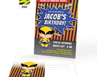 Printable, Wolverine, Comic Book Superhero Party Invitation, Superhero, Birthday Boy, Superhero Party, Comic Book Party, Birthday, Wolf