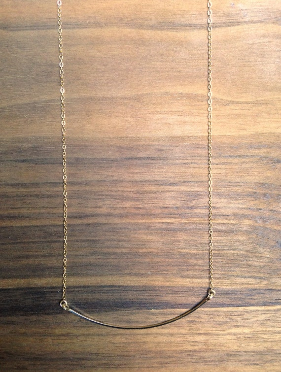 Curved Bar Necklace. Available in Sterling Silver and 14K Gold.