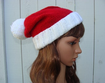 Knit Santa Hat with fold up brim and Pom-Pom - Santa hat, Size Teen/Adult  (Only 5 Available)