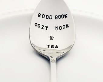 Hygge Stamped Spoon | Good Book, Cozy Nook & Tea | Mother's Day Gift | Book Lover Gift | Unique Kitchen Decor for Her | Tea Party Favors