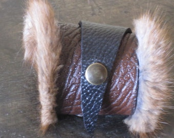 Leather and fur armband