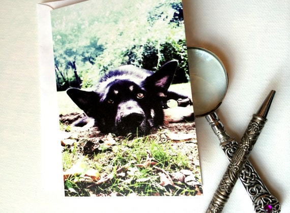 Dog Greeting Card, German Shepherd 4x6 GSD Card Blank Inside, Dog Love Pet Lover Any Occasion Card, for him for boy for her Black Dog Card