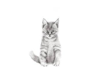 Kitten Nursery Art, Pencil Drawing, Animal Nursery Art, Cat Print, Grey Nursery Decor, Animal Sketch Print, Pencil Drawing, Pets