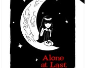 Alone At Last, 11x14 Emily The Strange Art Print Cute Black Cat Kitty Love Night