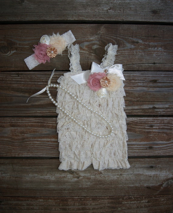 First Birthday Outfit Girl. Lace Romper Girls Lace Romper