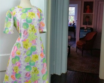 60s Mod Dress Plus Size Short Sleeve White Floral Shift Dress XXL