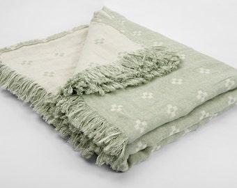 Linen Blanket - Duplex Linen blanket - Bedspread - Picnic blanket - Beach blanket - Throw blanket - Natural blanket