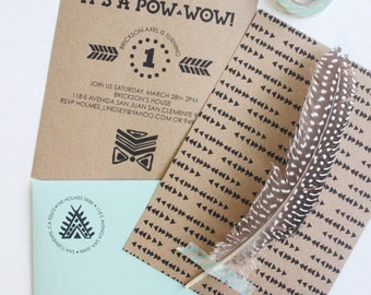 CARD- Customized Pow Wow Birthday Party Invitation & Envelopes (Pack of 25)