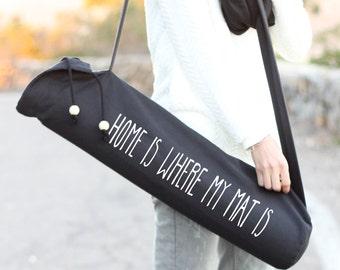 Sac à tapis de Yoga noir - la maison où est mon tapis - Yoga tapis transporteur - Sling de Yoga - Yoga - sac noir Mat - Mat - sac à tapis de Yoga - Yoga sac