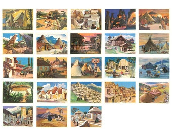 Houses of the peoples of the world, Set of 23 Postcards, Hut, Pavlinov, Soviet Union Vintage Postcard, USSR, 1975, 1970s