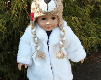 Teddy Bear Animal Hat for an American Girl Doll 18 inch Doll Bitty Baby Doll Character Hat