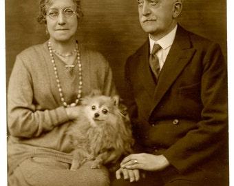 1900s Couple & Pomeranian Dog Real Photo Postcard Antique Vintage RPPC