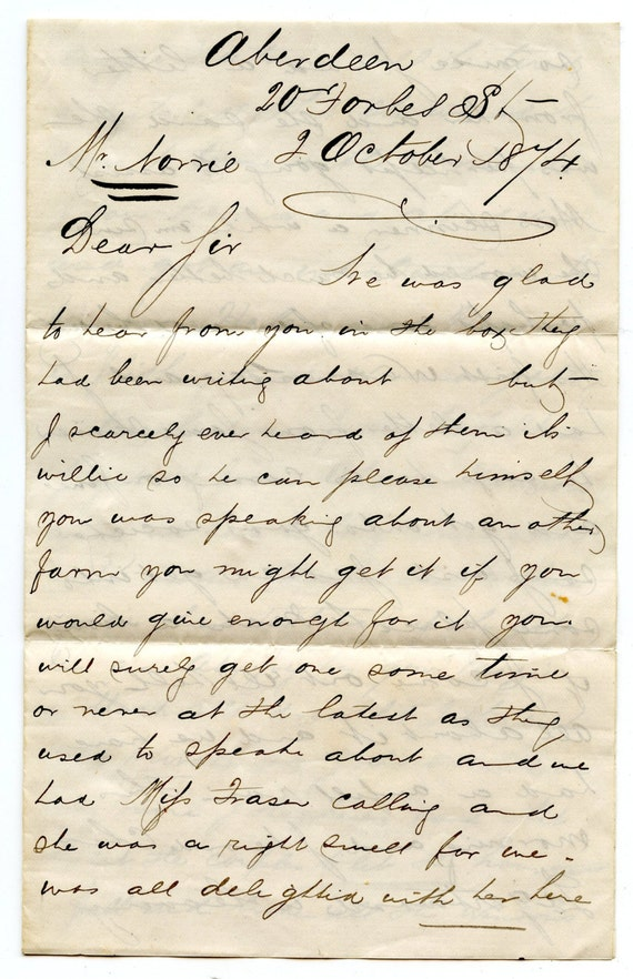 Victorian letter original hand writing calligraphy james