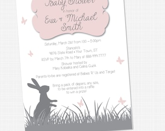 Baby Shower - Bunnies and Butterflies Invitation {Digital File} 5x7 Bunny Butterfly