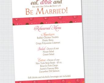Menu | Eat, Drink, Be Married Rehearsal Dinner Menu {Digital File}