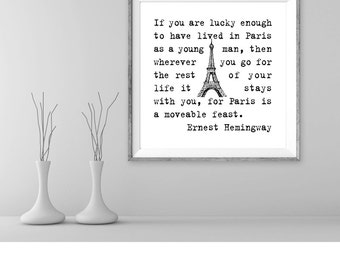 Ernest Hemingway quote, printable art motivational quote positive affirmation print minimalist art print wall art writer quote art print
