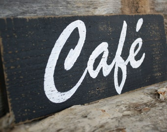 Wooden CAFE Sign Rustic Upcycled Reclaimed Wood Country Kitchen Decor Hand Painted