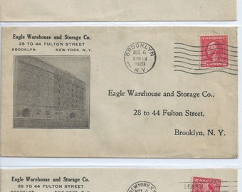 1920 Eagle Warehouse and Storage Co. Brooklyn, NY Illustrated Advertising Cover Self Addressed: 28 to 44 Fulton Street. Brooklyn, NY