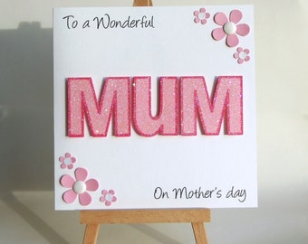 Mother's day card, handmade mother's day card, personalised mother's day card, floral card, mother's day greeting card, UK seller,