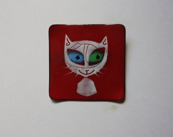 Vintage  Cat Brooch - Enamel on Copper