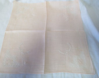 Vintage linen embroidered peach handkerchief hankie embroidered with ivory cut work NICE!!