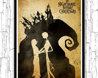 Tim Burton Nightmare Before Christmas Minimalist Poster