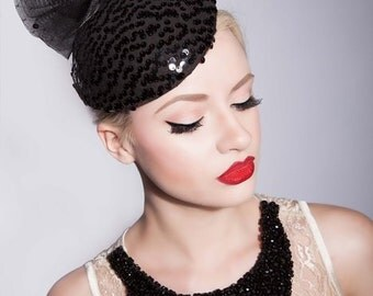 Black sequin couture hat