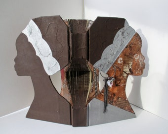 Altered Book Art, Book Sculpture, Mixed Media Silhouette, Coffee Table Book, Cameo Statue, Collage Art, Hand carved book, African Head