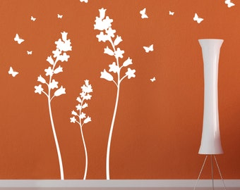 Wall vinyl decal flowers with butterflies