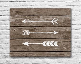 Tribal Arrows - Rustic Nursery Decor Graduation Gift Wall Art Print Gift For Best Friend Present Inspirational Quote - Wood Art Chalk