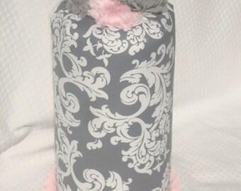 Headband Holder, Girl's Homemade Hair Accessory,Hairband Holder, Hairclip Holder,Pink Grey White Headband Holder,Pink Ribbon, Shabby Flowers