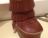 Handmade Brown Leather Moccasin booties high top cute shoes