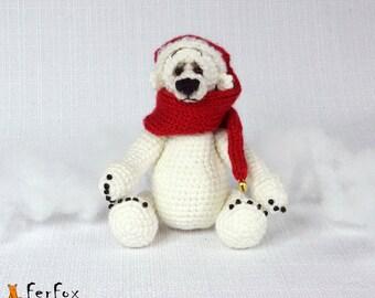 Polar bear, crocheted Christmas bear, teddy bear, winter holiday gift, amigurumi - Olaf the Polar Bear