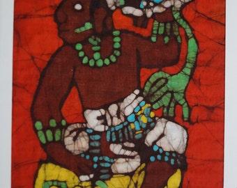 Batik Card of the Mayan ruler 13 (Pakal) from Palenque, Chiapas, Mexico