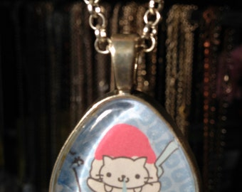 "Nyan Nyan Nyanko pendant! Cute Japanese cat in a bowl of ice cream; 3 cm triangular glass with silver finish, 24"" chain; weird, fun, quirky!"