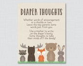 Woodland Baby Shower Diaper Thoughts Game Baby Shower - Printable Download - Write on Diaper Message Game, Words for Wee Hours - 0010