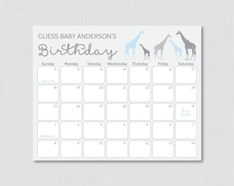 Giraffe Baby Shower Birthday Predictions with ANY Accent Color - Printable Due Date Calendar & Birthday Guess - 0011-b 0011-g 0011-y