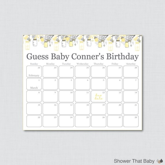 ... Printable Baby Shower Due Date Calendar Poster Birthday Guess